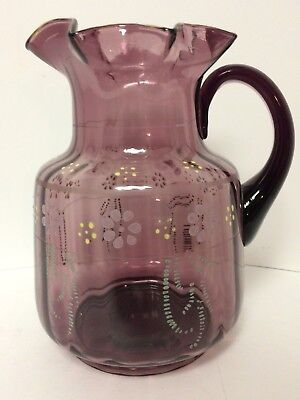 """Antique Victorian Glass Amethyst Optic Enameled 8 5/8"""" Water Pitcher VGC!!"""