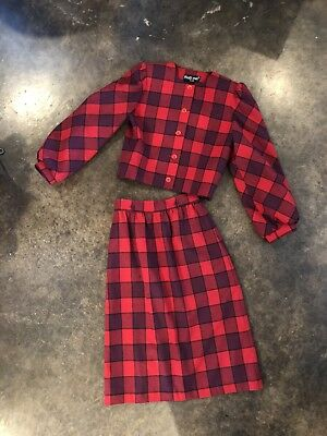 Vintage Women's 80's Skirt Set By That's Me Red Plaid