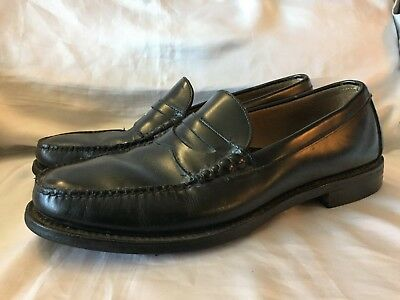 Vintage Hanover Dress Shoes Mens Size 11 Black Penny Loafer Leather Casual Slip
