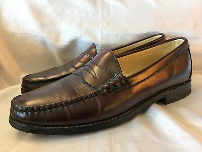 Vintage Hanover Dress Shoes Mens Size 10.5 Burgundy Penny Loafer Leather Brown D