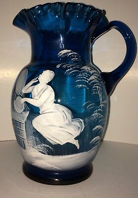 ANTIQUE Victorian Blue Water PITCHER Ruffled Hand Blown Hand Painted HTF !!