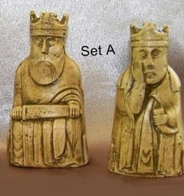 **LEWIS CHESSMEN - KING & QUEEN ONLY SET 1 or 2 HANDCAST & PAINTED**