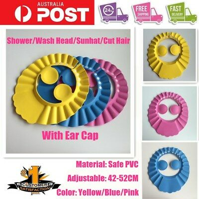 Soft Adjustable Child Kid Baby Shower Cap w/ Ear Shield Bathing Wash Hair SunHat