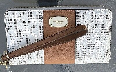 Michael Kors Vanilla Acorn MK  Signature MF LARGE  Phone Case Wallet Wristlet