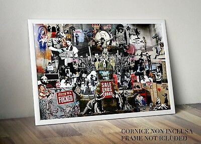 Quadro Stampa Su Tela Banksy Collage  Dimensioni Varie No Poster Wall Art