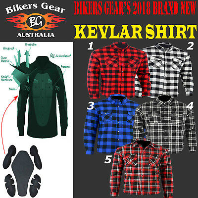 AUSTRALIAN BIKERS GEAR Motorcycle Flannel shirt WITH DuPont™ KEVLAR® CE ARMOUR