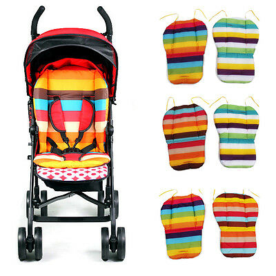 Striped Liner Infant Stroller Mat Cotton Pram Cushion for Baby Kids Random EB