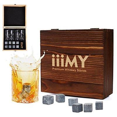 Iiimy Whisky Rocks Chilling Stones And Glasses Gift Set For Men With Wooden Box