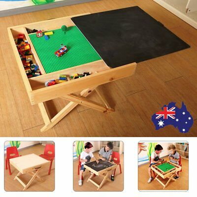3 Way Wooden Play Table with Toys Storage Blackboard Dinner Table Up to 4 Kids