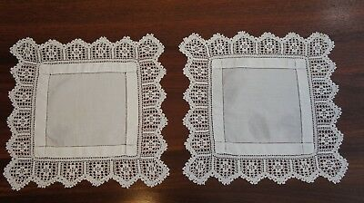 Pair (2 X) Matching Square Cotton Lace Doileys Doilys Vintage Retro White (#5L)