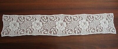 Long Runner Cotton Crochet Roses Doiley / Doily Vintage Retro White (#3L)
