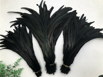 Wholesale! 10/50/100/500pcs Black rooster tail feathers 10-18 inches/25-45cm