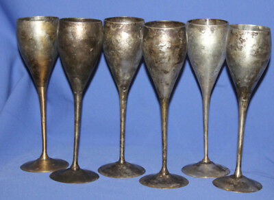 Set 6 Antique Silver Plated Goblets