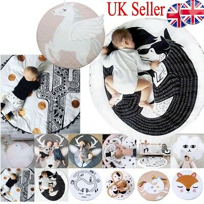Baby Kids Game Gym Activity Play Mat Soft Cotton Crawling Blanket Floor Rug Gift