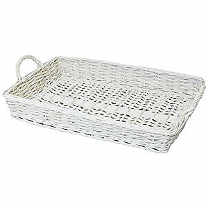 JVL Twisted White Wood Display Storage Rectangular Tray with 2 Handles