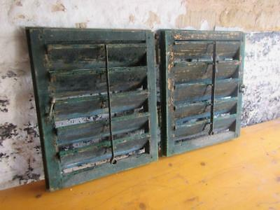 VINTAGE WOODEN SHUTTERS WINDOW 50t&81.5cm. ANTIQUE FRENCH  RECLAIMED   FREE post