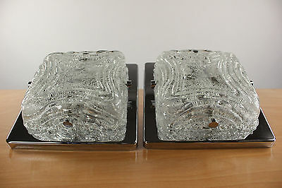 Vintage Square Pair Wall Lamps or Flushmounts Kalmar Ice Glass Chromed Steel