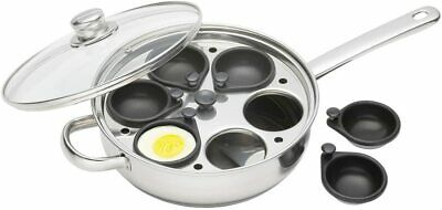 Kitchen Craft 28 cm Clearview Stainless Steel 6-Hole Egg Poacher