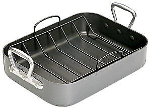 KitchenCraft  Teflon Non-Stick Roasting Tin with Rack, Grey, 36 x 27.5 cm