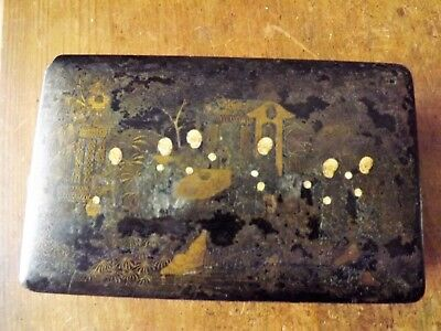 Antique Japanese Black Lacquer Decorated Box