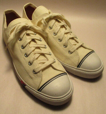 Vintage Unworn 1991 Pro-Keds Mens 11M Cream Color Canvas Classic Sneakers