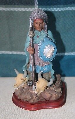 Figure of Native American Indian Chief & 2 skulls- Resin Statue 170mm tall