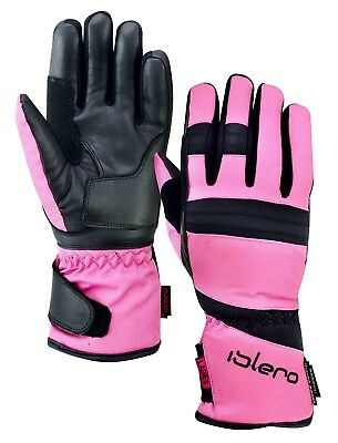 ISLERO Ladies All Weather Motorbike Waterproof Gloves Leather Windproof Tempest
