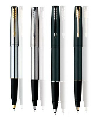 Parker Frontier Stainless Steel Matt Black Gold & Chrome Trim Roller Ball Pen