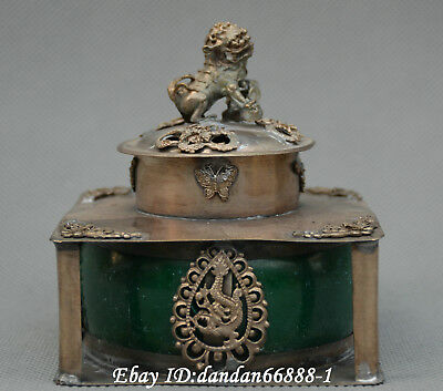 Collect China Miao silver dragon phoenix inner inlay jade censer incense burner