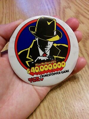 McDonald's, VTG, Dick Tracy $40 Million Crime Stopper Game Pin/Button USED 1990
