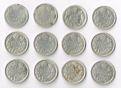 Lot Of 12 Various 1890H-1920 Canada Silver 5 Cents