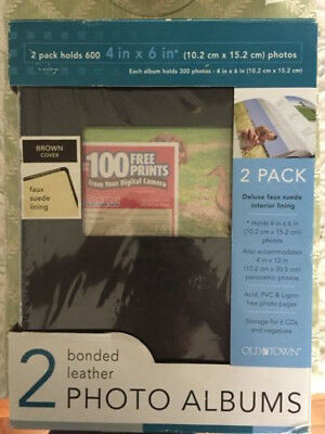 OLD TOWN Black Bonded Leather Photo Albums - 2 Pack Holds 600 Photos NEW