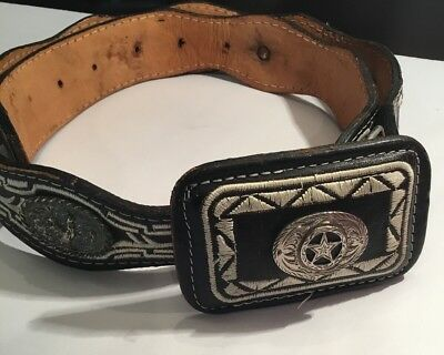 Vintage Womens Leather Western Belt Embroidered Silver Star Rooster Mexico