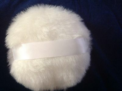 Luxurious Soft Body powder puff, 6 inches, white ribbon handle, no bow