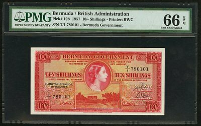 10 Shillings 1957 Bermuda / British Administration PMG 66 EPQ Gem Uncirculated