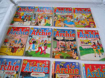 Lot of 12 Vintage Archie Series Comic Books 1969 - 1974 Silver - Bronze Age