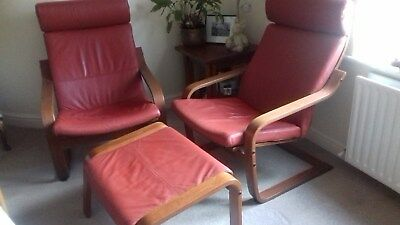 Cool 2 Red Leather Ikea Poang Chairs And Footstool Also Bralicious Painted Fabric Chair Ideas Braliciousco