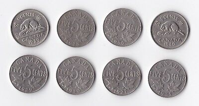 8 Canadian 5 cent coins dated between 1927 and 1940