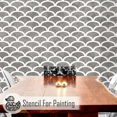ART DECO SCALLOP Furniture Wall Floor Stencil for Painting