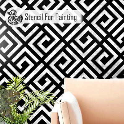 GEO MAZE Furniture Wall Floor Stencil for Painting