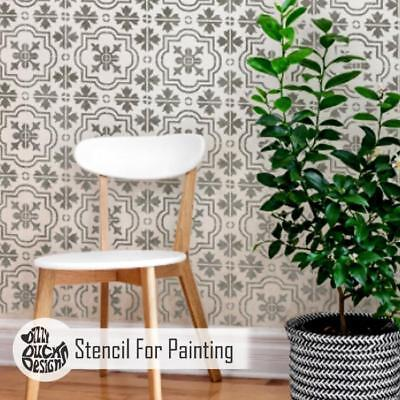 MARBELLA Tile Furniture Wall Floor Stencil for Paint