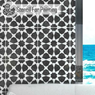 AMIRA Moroccan Tile Furniture Wall Floor Stencil for Painting