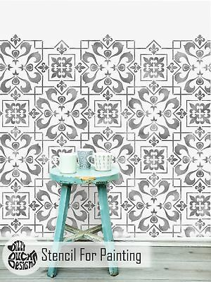 CASSIS TILE Wall Furniture Floor Stencil for Painting