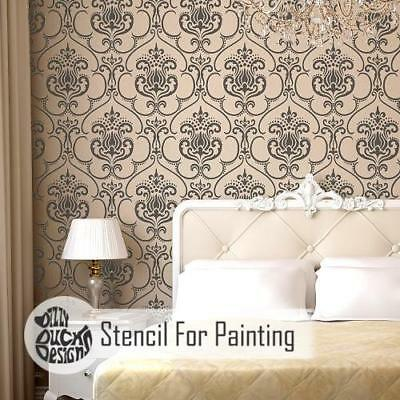 KARIM Damask  Furniture Wall Floor Stencil for Painting