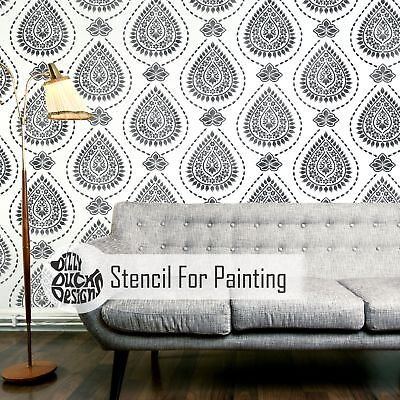 KASHMIR Furniture Wall Floor Stencil for Painting