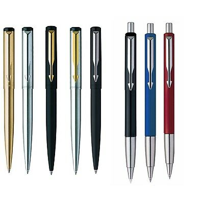 Genuine Parker Vector Stainless Steel Matt Black Gold & Chrome Trim Ball Pen