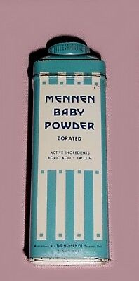 Vintage MENNEN BABY POWDER 40Z TIN W/POWDER INSIDE For Old Tin Collectors