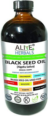 Alive Herbals Black Seed Oil Organic 16 OZ No Preservatives Added Expedited ship