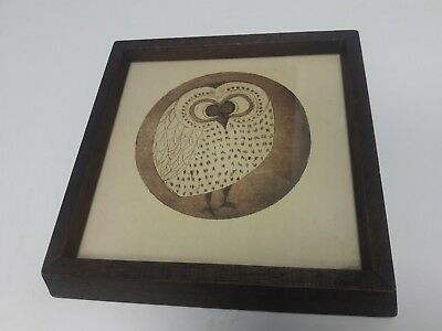 VINTAGE Owl Picture Wall Decor Print wood frame Brown bird round body glass