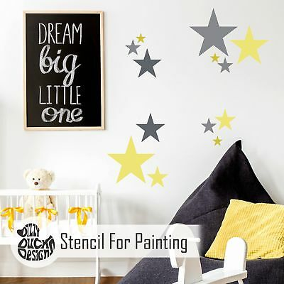 5-POINT STAR SET OF 6 Furniture Wall Floor Stencil for Paint